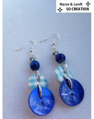 Boucles d'oreilles fait main fantaisie boutons et agathe colorée bleu                                                                                                                                                      Plus