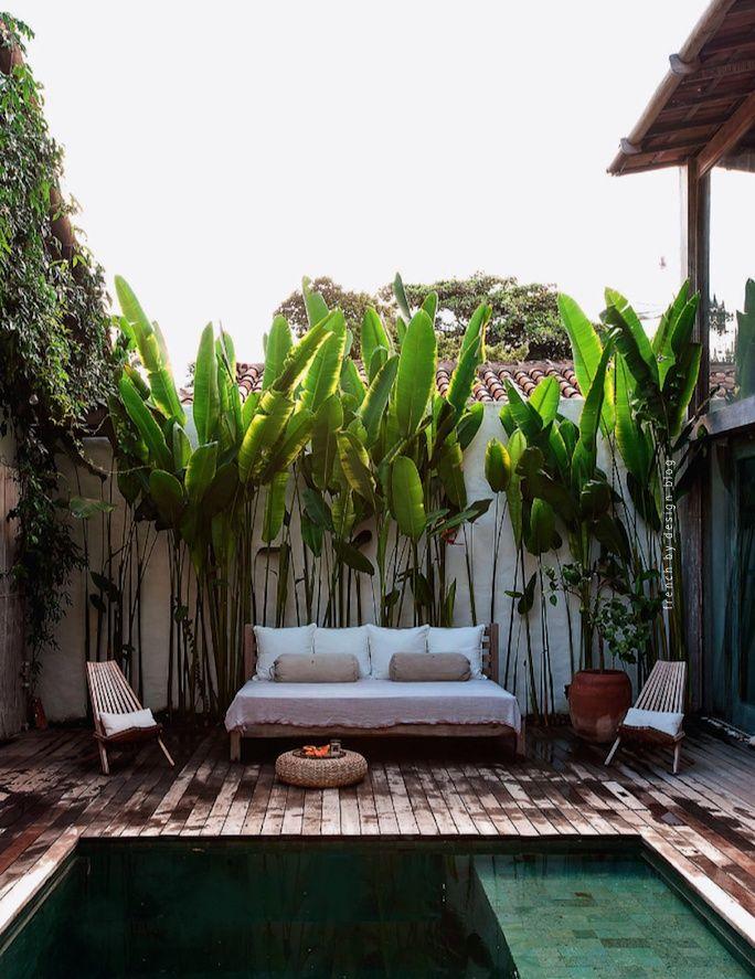 casa lola. trancoso. brasil. jan eleni lemonedes & ronnie stam.   Nice architectural application of heliconia.