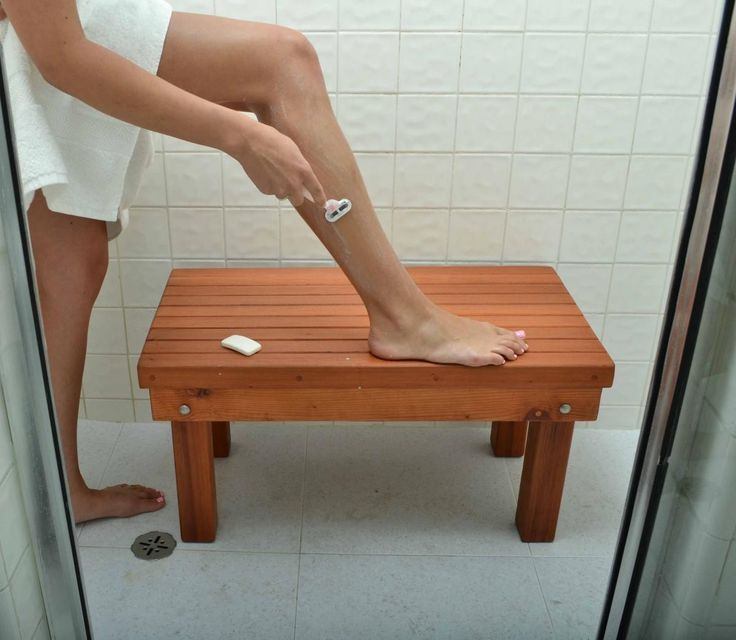 Patio Wood Shower Bench - Wood Shower Benches | Forever Redwood. Can be sized to fit.
