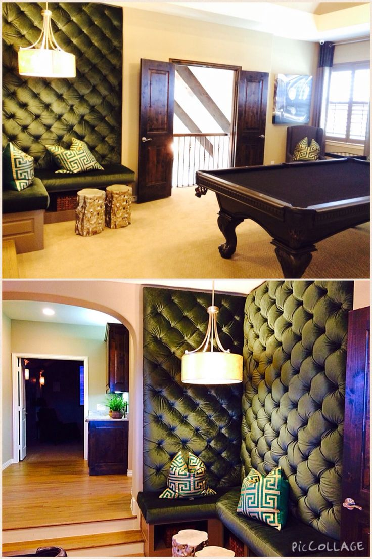 Fun materials- thinking out of the box!  Love this game room lounge area!