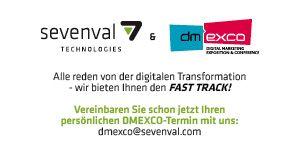 Join the FAST TRACK!  Treffen Sie uns auf der DMEXCO: 14. & 15. September 2016.  Wir freuen uns auf Ihren Besuch in Halle 6, Stand F025.  Sevenval bietet  Dynamic Serving, neueste Frontend-Technologien, bestes UX-Design und rasante Web-Performance für die Branchen eCommerce - Insurance - Banking - Travel - Publishing - Automotive und andere mehr.  Diese Unternehmen sind mit uns schon auf der schnellen Spur:  FAZ.net, HDI, Tui, Mercedes-Benz