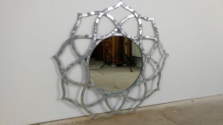 Großer Spiegel Silber Wandspiegel 88 cm Alu Deko Rund Orientalisch Design Indien