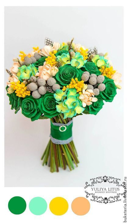 Букет невесты с цветами из полимерной глины в изумрудных тонах - букет невесты