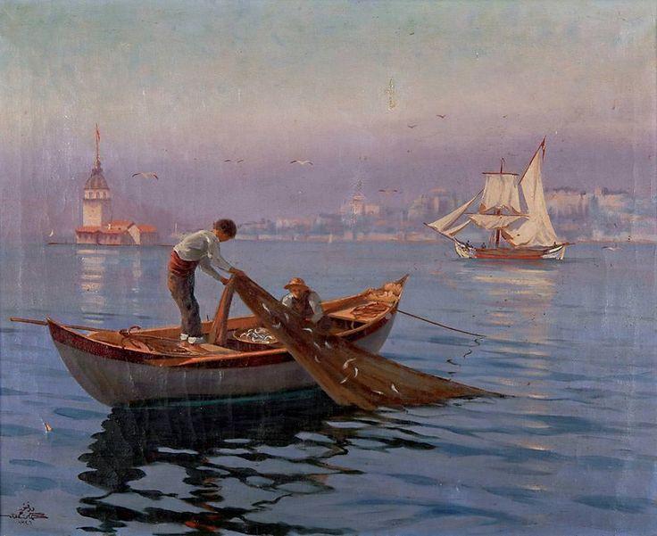 Dr. Hikmet Hamdi Kız Kulesi Önünde Balıkçılar Tarih: 1927 Boyut: 55 x 68 cm