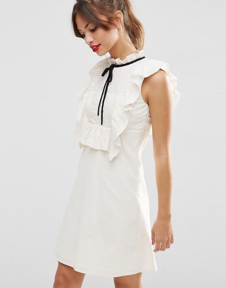 ASOS Broderie Bib Contrast Tie A-Line Dress