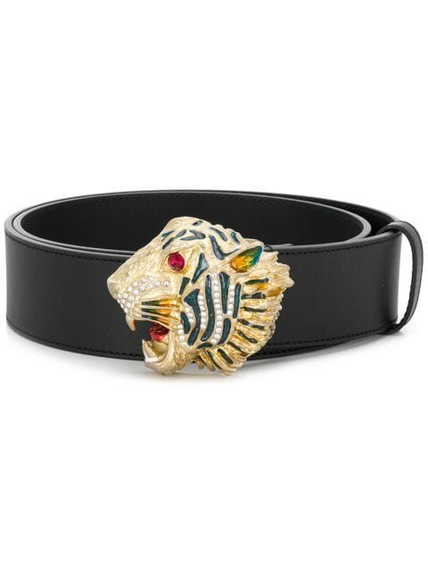 b87286948 GUCCI | Tiger Head Belt - Black | $876 | Finished with sparkling crystals  and colored