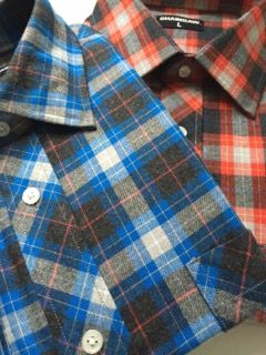 Chainsaw Brands by Ian Ziering- Flannel shirts in Red and Royal Blue checks.  Looks great with a white tee or, with a pair of jeans or khakis.  $45 including free delivery at chainsawbrands.com