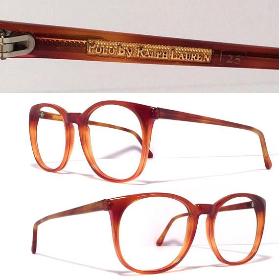Exceptional vintage Ralph Lauren Polo frame Made in Italy 1980's Excellent quality and condition! Great Amber tortoise color Rounded shape Frame is ready for your prescription or sunglass lenses. Eye size 52mm Bridge 20mm Temple length 140mm Measurement across frame front 5 1/4