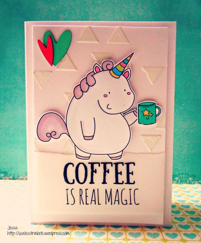 Useless Trinkets Digi Stamp Freebie Keksdose, das Einhorn - Cookie Jar, the unicorn coffee is real magic card