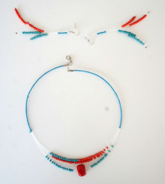 Ghost Necklace and Earrings in Turqoise and Coral by Karakoncolos, $20.00
