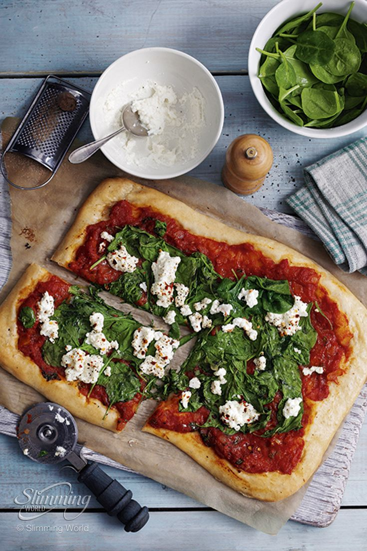 Get a slice of the slimming action... Italian ricotta cheese is light, creamy and tastes sensational paired with spinach and nutmeg on our vegetarian healthy pizza.   http://www.slimmingworld.com/recipes/ricotta-and-spinach-pizza.aspx