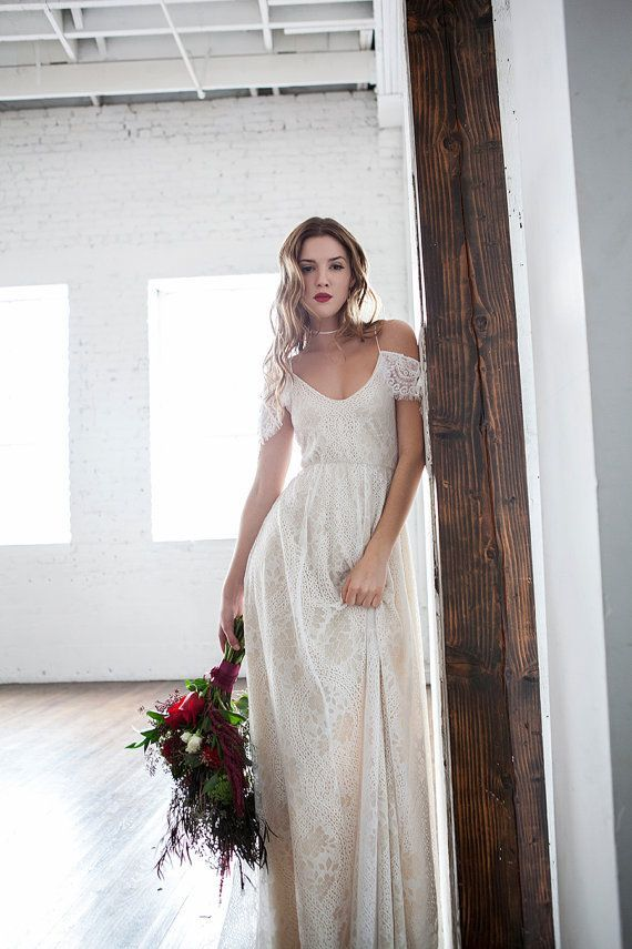 Boho Wedding Dress Off Shoulder Wedding Dress by WearYourLoveXO