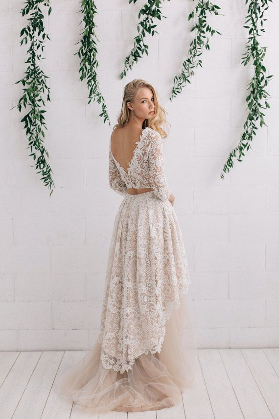 Lace Wedding Dress, Bohemian Wedding Dress ,Ivory Nude Wedding Dress , Bridal Separates ,Open Back Bridal Dress , High Low Dress - Astrid