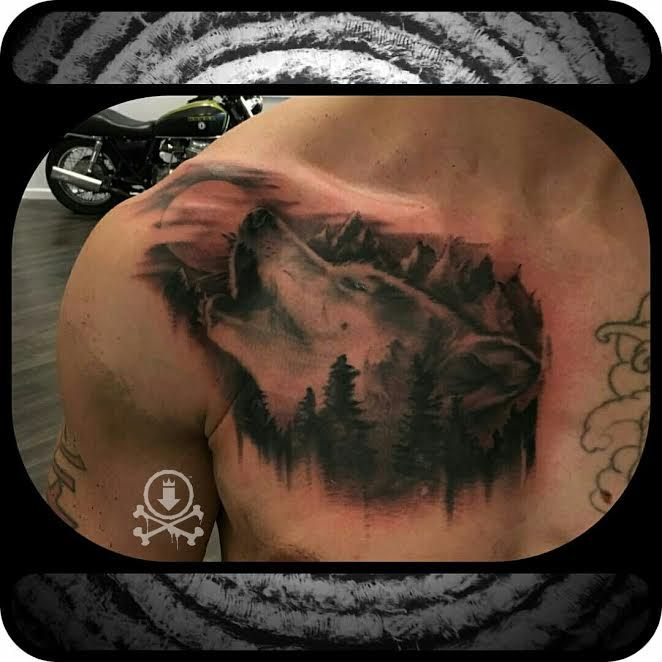 awesome howling wolf portrait tattoo by mike sedges. Black Bedroom Furniture Sets. Home Design Ideas