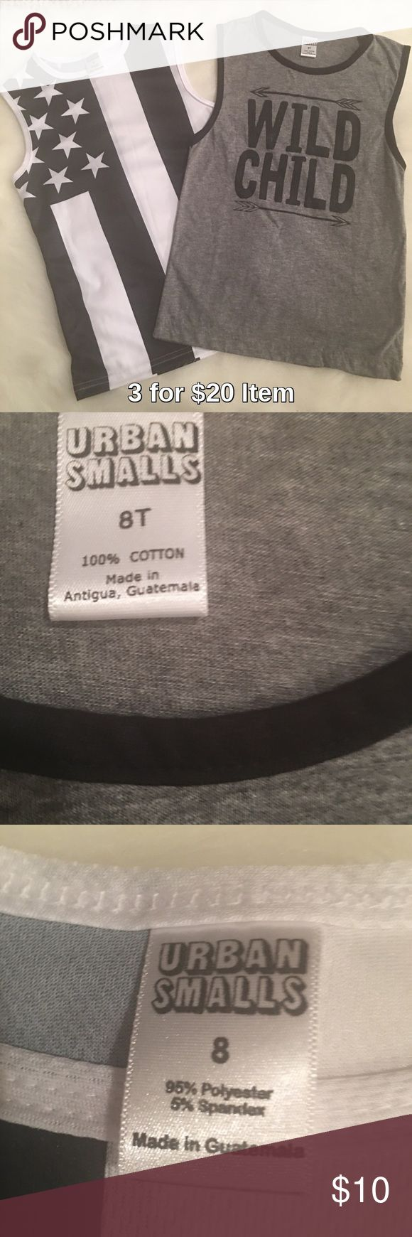 Urban Smalls Lot of 2 Boys Tanks, NWOT Sale! Price is firm unless 3 for $20 bundled. Two tanks by Urban Smalls. One is of the American Flag and the other says Wild Child. These were a gift for my stepson and were purchased from Zulily. They were too small and it was difficult to return them. Never worn, they arrived without tags, just packaged, in the mail. Both are size Boys 8. urban smalls Shirts & Tops Tank Tops