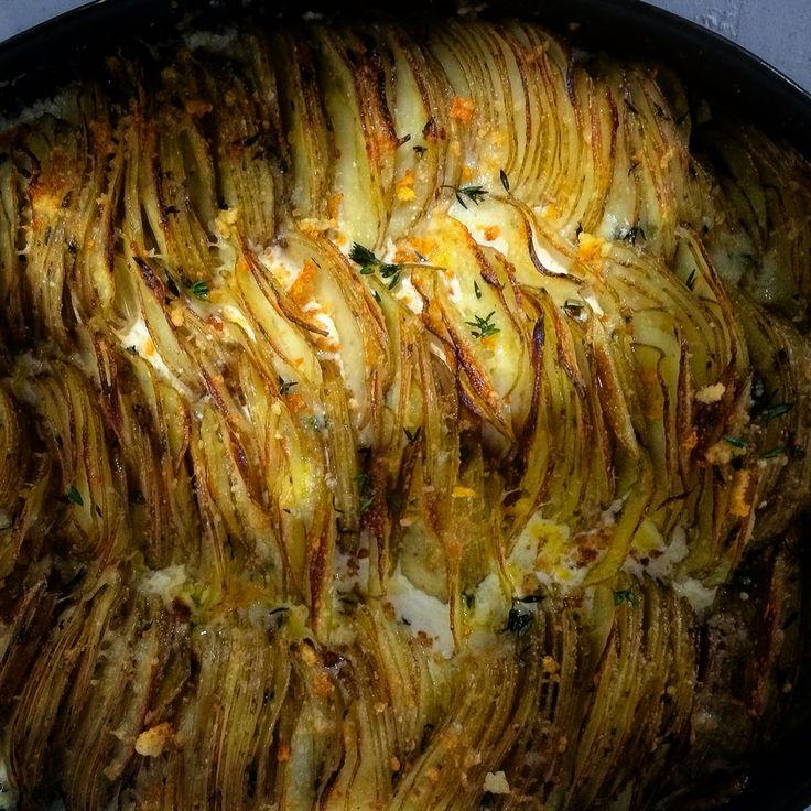 Hassle back potatoes on set. Food Stylist Janine Kalesis.