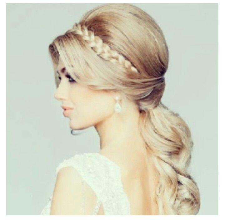 Cute fancy ponytail with braided headband