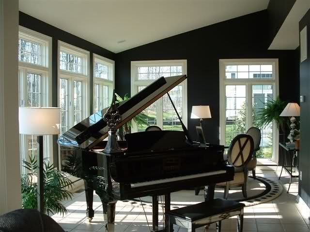 Black painted rooms home decorating design forum gardenweb black painted black and - Piano for small space decoration ...