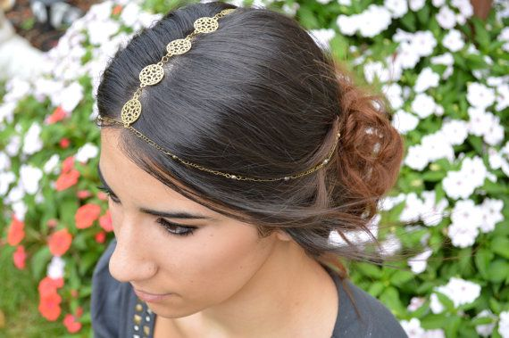 Gold Filigree Headdress // Bohemian Hair Accessory // Boho Headband // Statement Head Piece // Head Chain // Head Jewelry