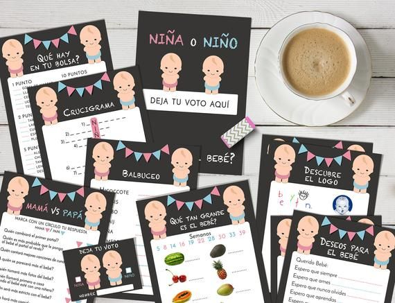 SPANISH gender reveal games printable, Boy or girl party, Instant download.
