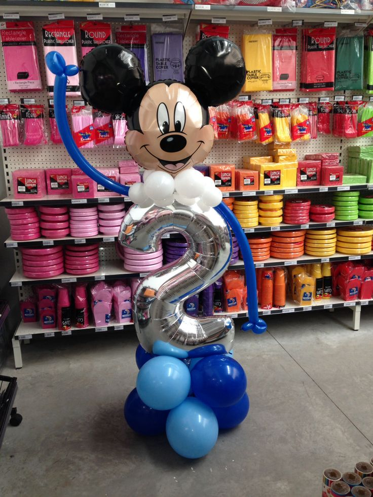 Mickey Mouse balloon decoration for a 2nd birthday. Made by Let's Celebrate Parties.