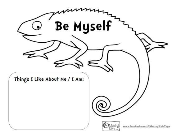 mixed up chameleon and a color of his own be myself free printable from - Things To Color For Kids