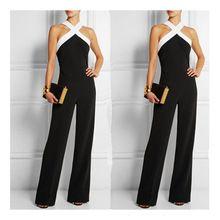 Mode, vrouwen, zwarte jumpsuit ropers lente zomer dames mouwloze lange broek…
