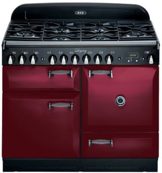 AGA ALEG44DFCRN 44 Inch Pro-Style Dual Fuel Range with 2.4 cu. ft. Convection Oven, 2.2 cu. ft. 7-Mode Multifunction Oven, Broiling Oven, Manual Clean and Storage Drawer: Cranberry