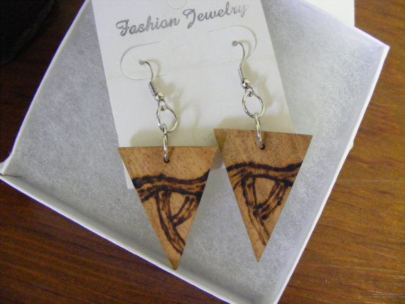 Natural rustic wood earrings with a wood burned by byRickMarsh