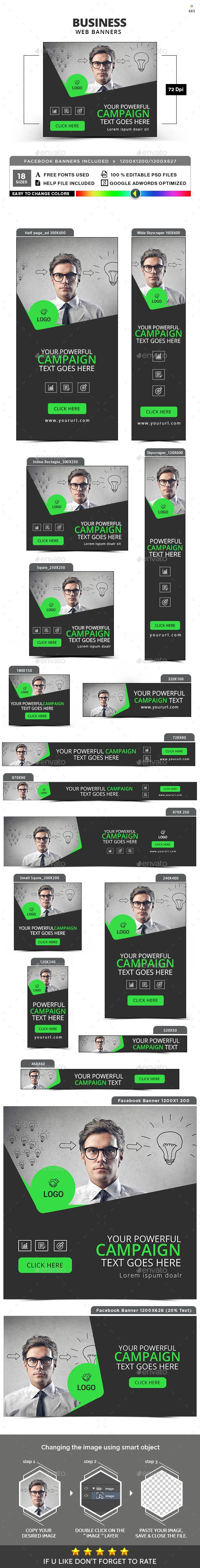 Promote your Products and services with this great looking Banner Set. 18 awesome quality banner template PSD files, including Facebook ad sizes, ready for your Services, products, campaigns.Each PSD files are layered and fully organized. You can use this banners for google adwords & Adroll too. ( All google adwords, Adroll banner sizes included)