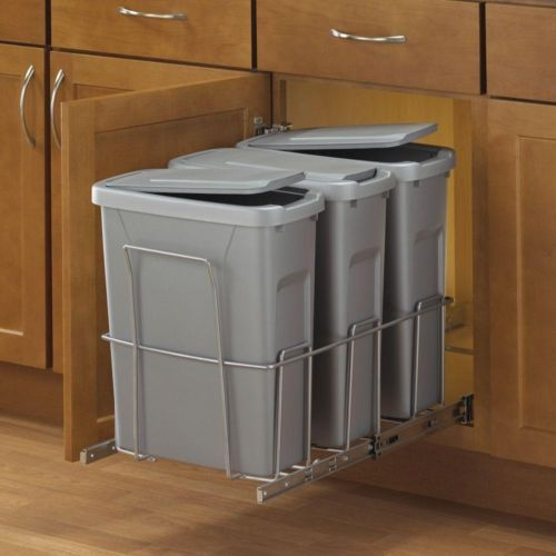 Triple 20 Qt 18 X14 X23 Steel In Cabinet Pullout Trash Can Garbage Recyclingrecycling Binsgarbage Storagerecycling Stationkitchen