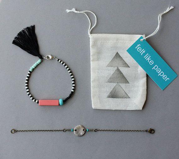 Friendship Bracelet Set - Black and White Bracelet with Tassel and Silver Coin Bracelet - Layering Bracelets