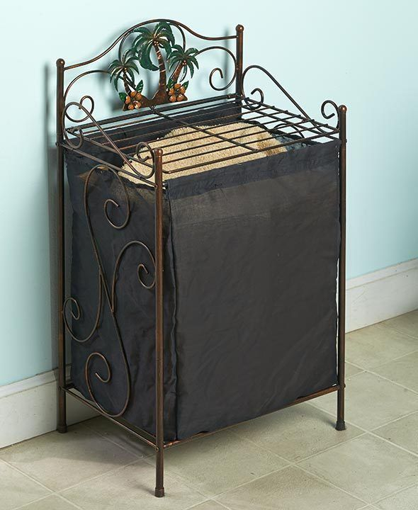 HAMPER OR TOWEL STACKER BRONZE TROPICAL PALM TREES BATHROOM METAL SPACE SAVER #Unbranded