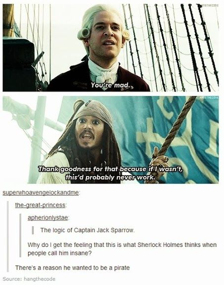 Jack Sparrow and Sherlock Holmes. There is debate that they have the same personality type.