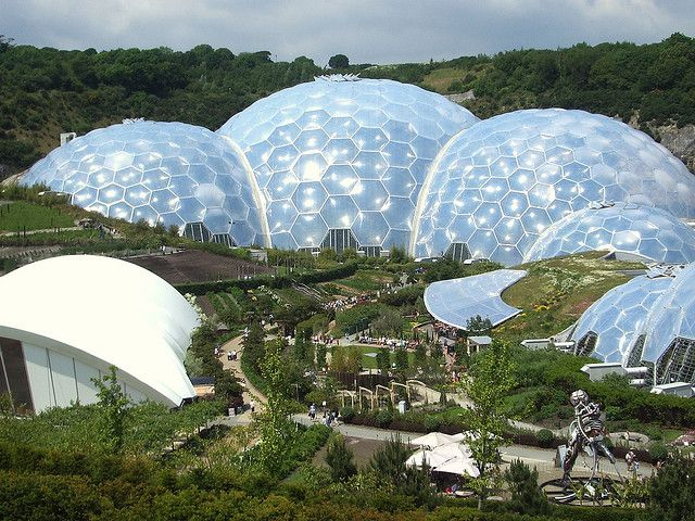 Biosphere-solated environment-the rainforest biome.Eden Project, Cornwall, UK  Completely Contained living . Imagine that
