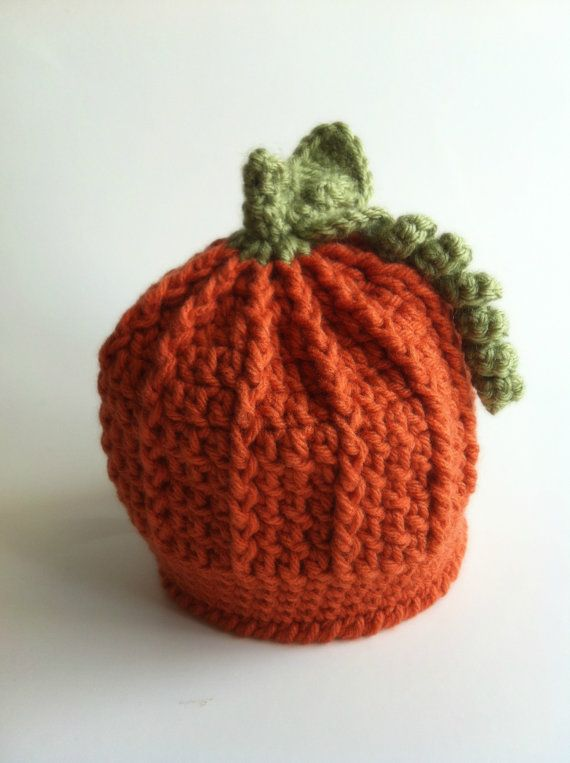 Pumpkin hat, Baby Hat, Infant, Knit, Crochet, Baby ...