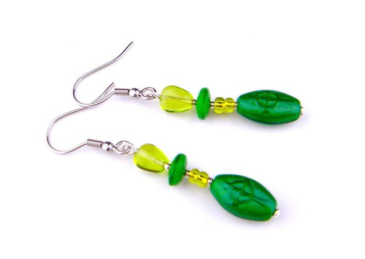 Vintage Earrings Czech Glass Silver Tone Hook Drop Dangle Green Long Irish Cross #Unbranded #DropDangle