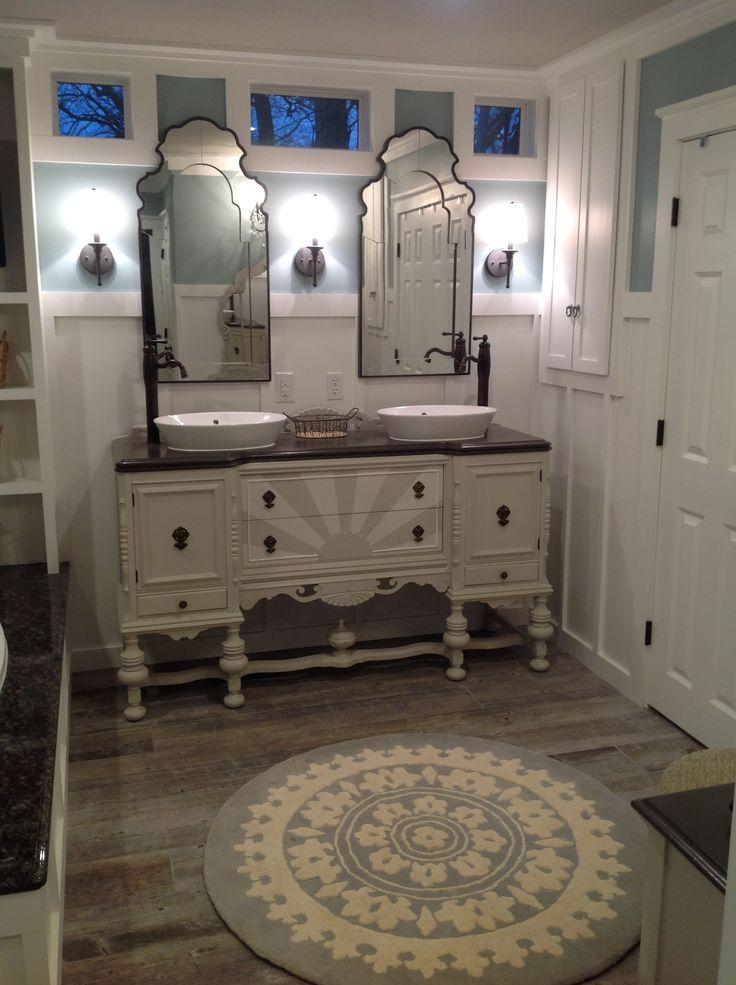 Antique Sideboard Dresser Repurposed Into Bathroom Vanity