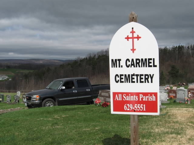 "Mt Carmel. Pa. Cemetery  Sterns are buried here  My son""s truck here as he went to visit their graves."