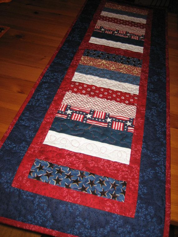 Red White And Blue Americana Quilted Table Runner By