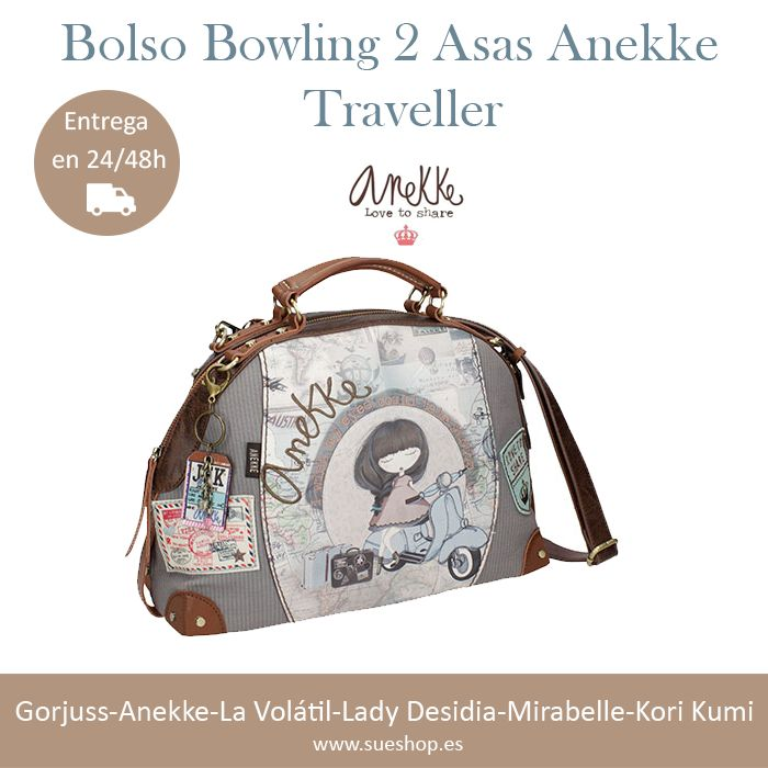 """Bolso Bowling 2 Asas Anekke de la nueva colección """"Traveller"""", con compartimento principal con cierre de cremallera y en su interior, varios bolsillos para llevarlo todo bien organizado, además de un bolsillo en la parte trasera con cierre de cremallera para llevar tus cosas más importantes a mano.   @sueshop_es #anekke #bolso #bowling #complementos"""