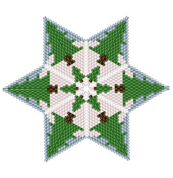 3d Christmas Tree Pattern: 3D Peyote Star, Warped Square, Christmas Tree Star