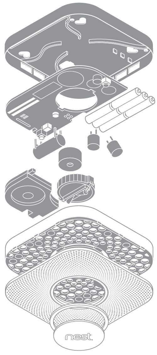 Exploded view of the Nest Protect smoke detector