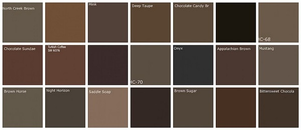 Dark brown paint color swatches from Benjamin Moore. We ...