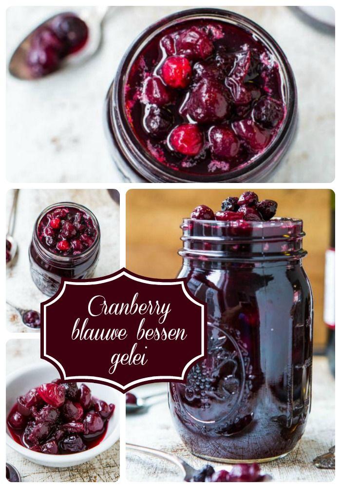 Cranberry en blauwe bessen gelei met rode wijn