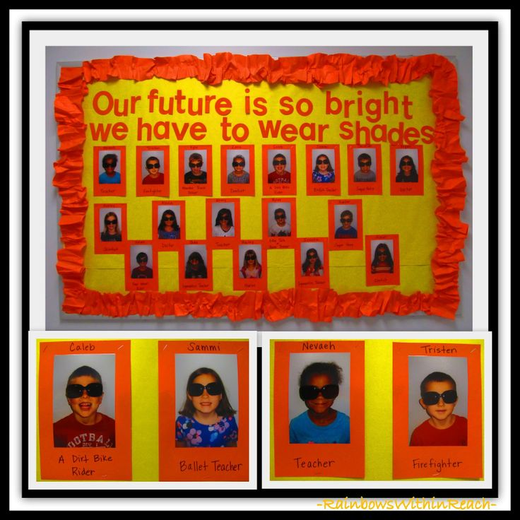 """Our Future is so Bright"" Bulletin Board via RainbowsWithinReach.  This would be cute at the end of the school year around summer time."