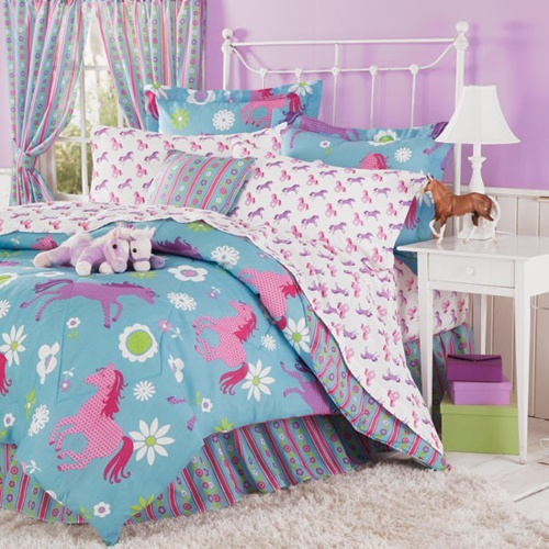 Girl's Western Horse Bedding | Playful ponies and cheerful flower blooms sprinkled across a bright turquoise background