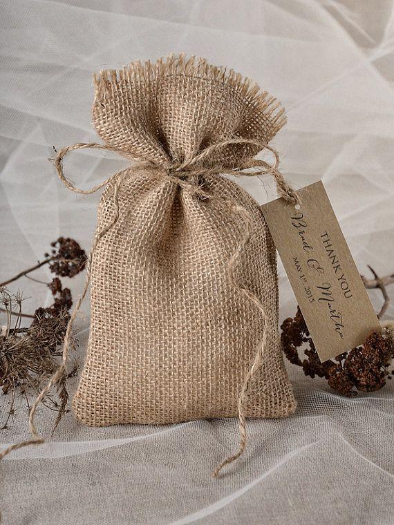 Sac rustique, faveur de mariage de l'écorce de bouleau, sac toile de jute, mariage Merci sac, sac de cadeau rustique, permet de cultiver l'amour