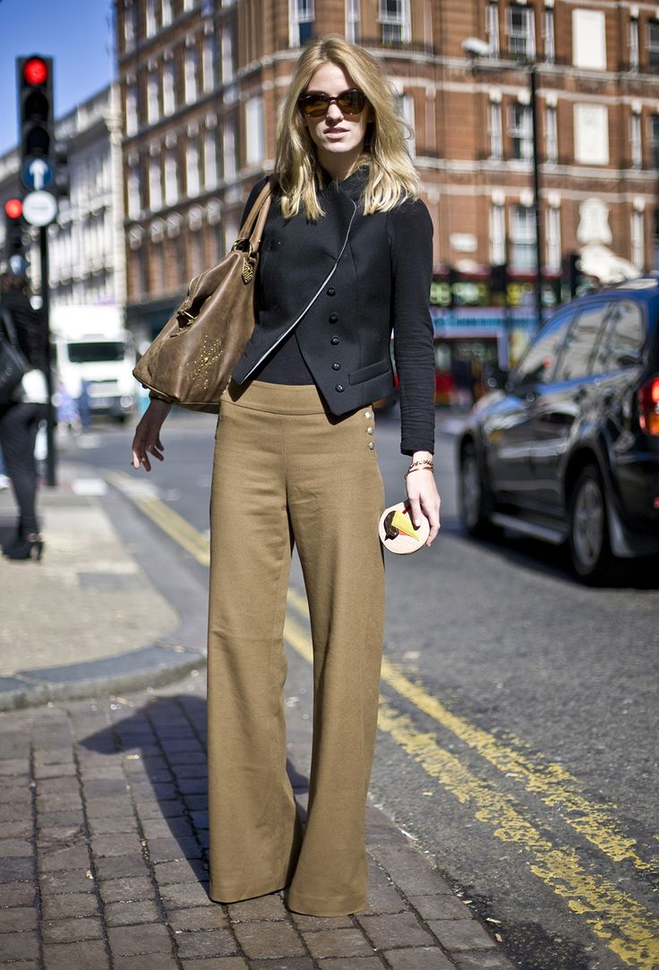 #StreetStyle for Fall: khaki wide leg trousars paired w/ a fitted black jacket