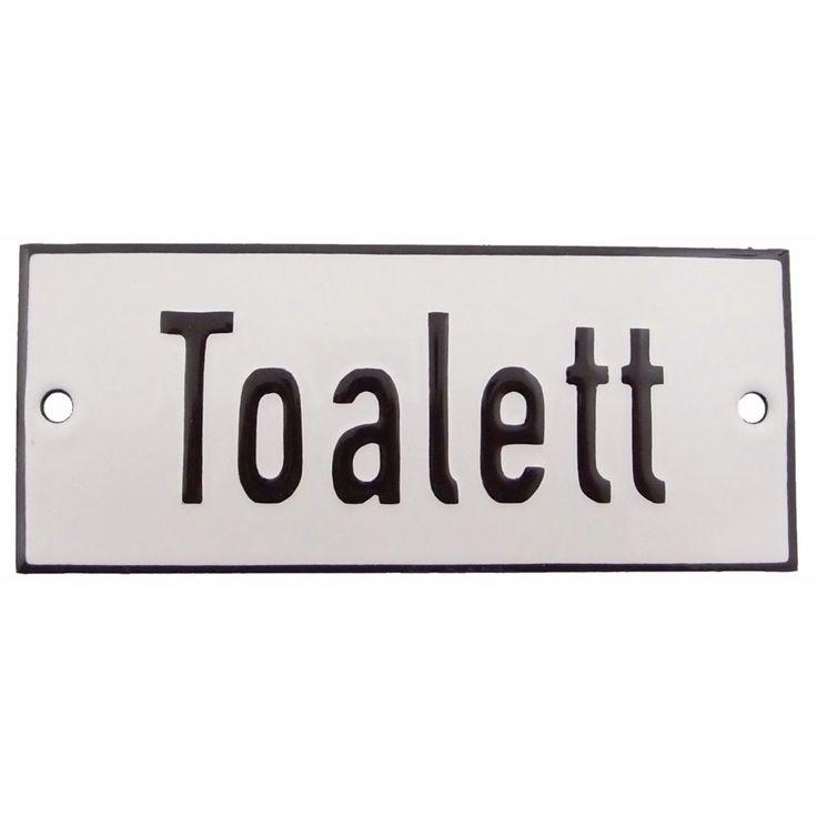 Emaljskylt Toalett 12 x 5 cm i vitt och svart modell 2 vy framifrån